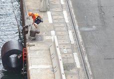 Docker at work at barcelona port stock photo