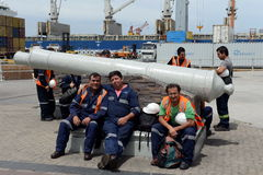 The dockers from the port of Valparaiso. VALPARAISO, CHILE - NOVEMBER 24,2014:The dockers from the port of Valparaiso Stock Image