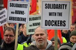Dockers protest at Port of Oslo. Norwegian dockers and trade unionists protest the new owner of the port of Oslo 05.02.2015, after the Turkish company Yilport Stock Photos