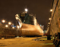 During the docking. Ship in the dock renovation Royalty Free Stock Photos