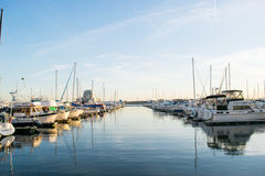 Docking Areas and Sail Boats in The Inner Harbor Area in Baltimo Stock Image
