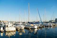 Docking Areas and Sail Boats in The Inner Harbor Area in Baltimo Royalty Free Stock Photo