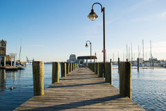 Docking Areas and Sail Boats in The Inner Harbor Area in Baltimo Stock Photo