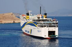 Docking ferry, Halki Stock Images