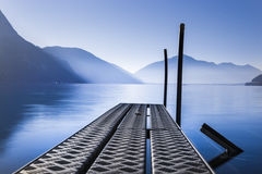 Docking in Lugano. A docking picture took in Lugano at the sunrise stock photos