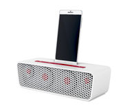 Docking station speaker and smartphone Royalty Free Stock Photo