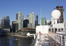 Docking In Vancouver. The cruise liner docking in Vancouver downtown (British Columbia, Canada Royalty Free Stock Photo