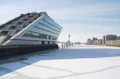 Dockland. Winter at Hamburg and ice on river Elbe Stock Photography