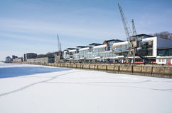 Dockland. Winter at Hamburg and ice on river Elbe Royalty Free Stock Photo