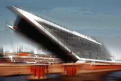 Dockland building, Hamburg, graphically abstract & x28;digitally manipulated& x29; Royalty Free Stock Photos