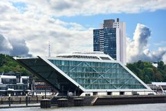 Dockland, modern building in the harbor of Hamburg royalty free stock photos