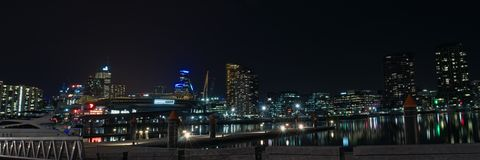 Dockland night panorama Royalty Free Stock Image