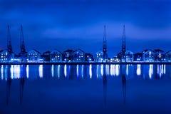 Dockland night scene Royalty Free Stock Image