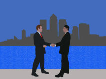 Docklands business meeting. Business men meeting with handshake and London docklands skyline Stock Images