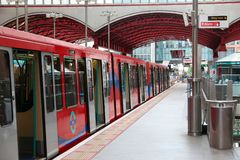 Docklands-Kleinbahn Stockfoto
