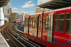 Docklands Lichte Spoorweg. Stock Afbeelding
