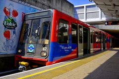 Docklands Light Railway DLR train stationary at Lewisham terminus royalty free stock images
