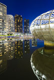Docklands, Melbourne alla notte Immagini Stock Libere da Diritti