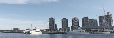 Docklands panorama with yachts Royalty Free Stock Photography