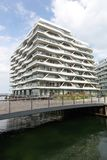 Docklands que emplean la isla y el puerto, Dinamarca de Aarhus Imagen de archivo