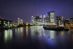Docklands skyline. Skyline of Docklands, Canary Wharf, London, in a beautiful night royalty free stock photo