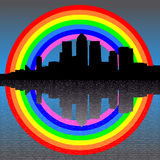 Docklands skyline with rainbow Royalty Free Stock Photo