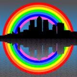 Docklands skyline with rainbow Royalty Free Stock Photo