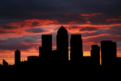 Docklands-Skyline am Sonnenuntergang Stockfotografie