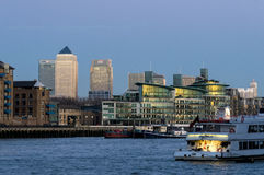Docklands skyline and the Thames Royalty Free Stock Photo