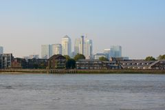Docklands viewed across River Thames from Greenwich, London, England Stock Images