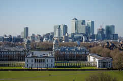 Docklands viewed from Greenwich Park. View from the hill at Greenwich Park looking over the Queen's House, Royal Naval College and River Thames towards the Isle Royalty Free Stock Photo