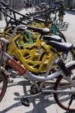 dockless共有的自行车联盟  库存照片