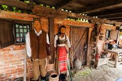 Dockor med traditionella serbiska medborgaredräkter royaltyfria bilder
