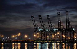 Docks. This is a night shot of shipping docks Royalty Free Stock Photography
