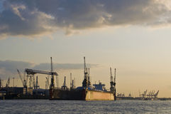 Docks. Along the Elbe in Hamburg at sunset Stock Photo