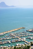 The Docks. A picture covering docks in Tunisian city Sidi Bou Said Royalty Free Stock Image