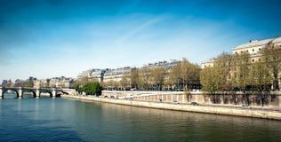 Docks along the Seine river - Paris - Fran. View of Docks along the Seine river - Paris - France Stock Photography