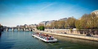Docks along the Seine river - Paris - Fran. View of Docks along the Seine river - Paris - France Stock Photo