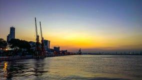 Docks au coucher du soleil Photos libres de droits