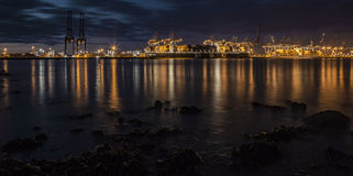 Docks au coucher du soleil Image stock