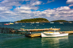 Docks and boats in the harbor at Bar Harbor, Maine. Stock Image