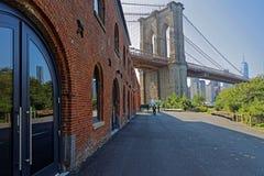 Docks and the Brooklyn Bridge. NEW YORK CITY, USA, September 11, 2017 : Docks and the Brooklyn Bridge Royalty Free Stock Photo