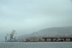 Docks and Cranes at Harbour in Trieste Royalty Free Stock Image