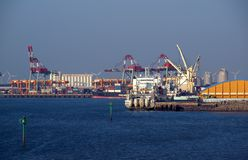 Docks and Cranes at Taichung Port in Taiwan Stock Photos