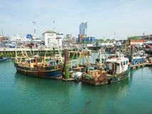 Docks de cambrure, Portsmouth, Angleterre Photos libres de droits