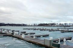 Docks de Chicago en hiver Photographie stock