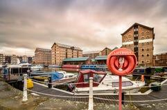 Docks de Gloucester au coucher du soleil Image libre de droits