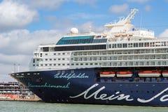 Docks de Southampton avec les terminaux pour passagers industriels et Photographie stock libre de droits