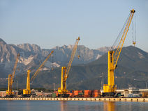 Docks, derricks, Marina di Carrara, Italy Royalty Free Stock Image