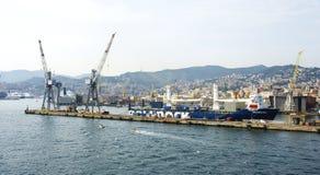 Docks of Genoa city in the background Stock Photo